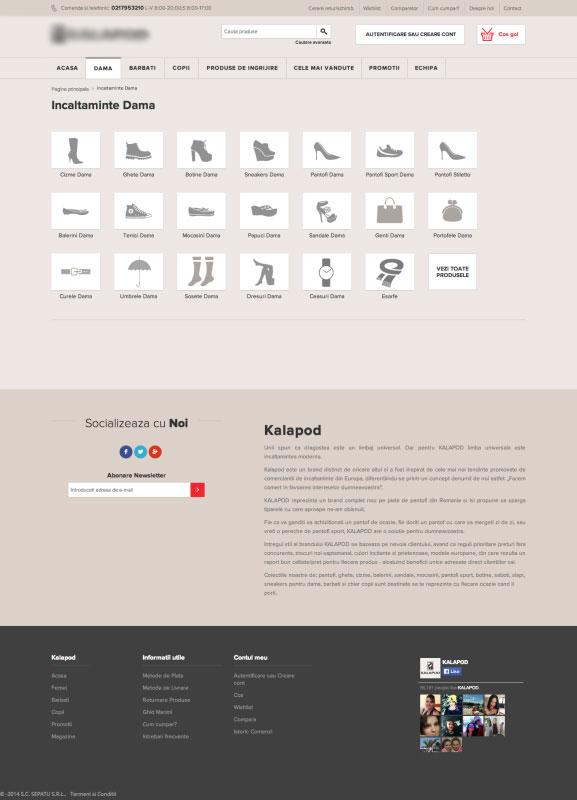 categorii produse kalapod.ro, web design, webdesign
