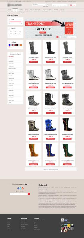 listare produse kalapod.ro, webdesign, web design