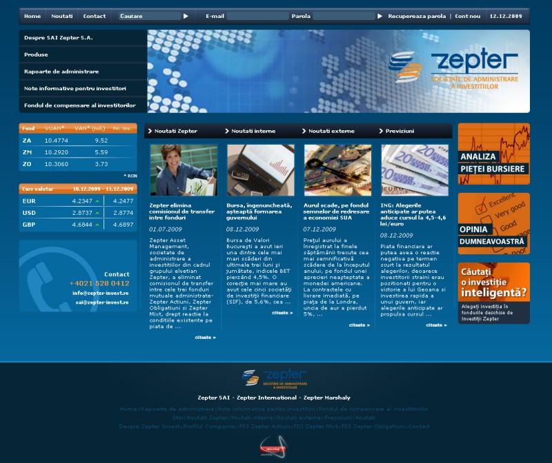 Zepter Invest - Web design