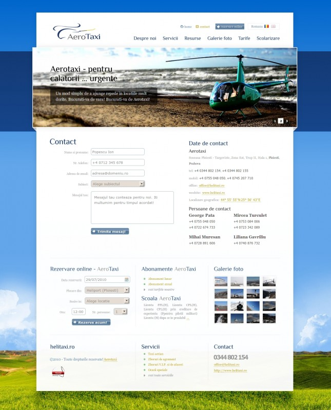 Helitaxi - Web design