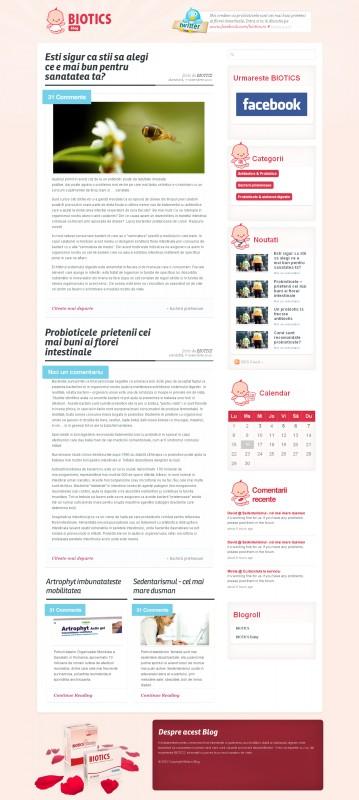Biotics Blog - Web design