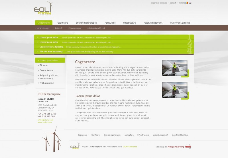 Eolenergy - Web design