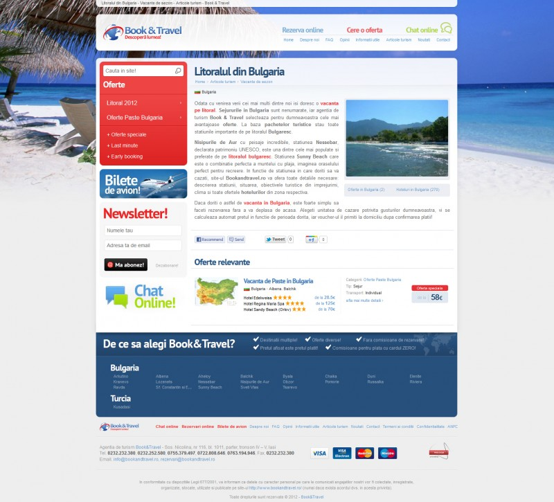Book and Travel - Web design