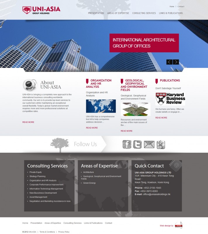 Uniasia - Web design
