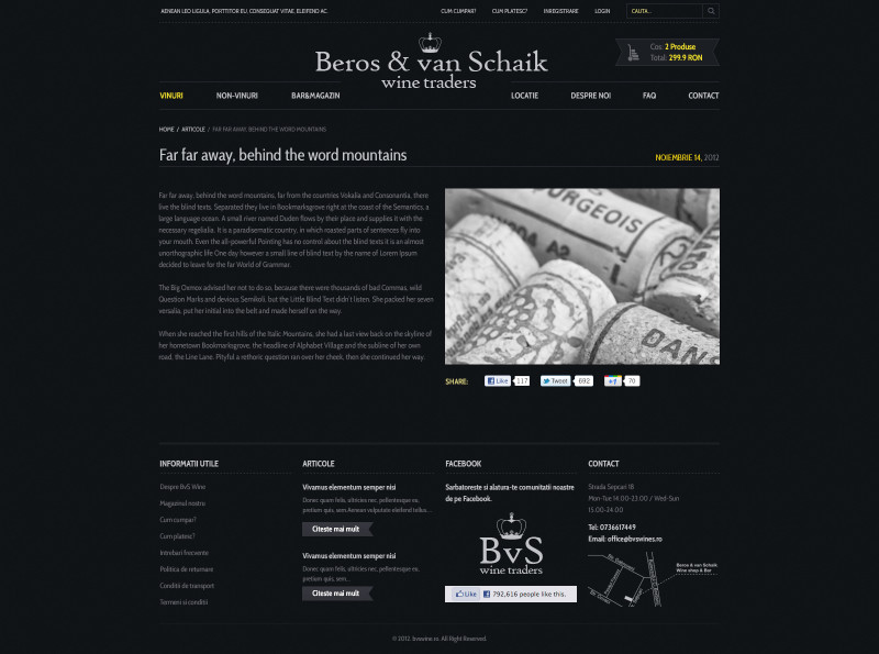 BvS Wines - Web design