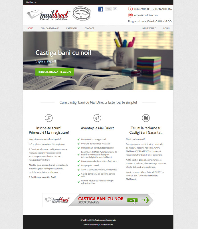 Maildirect - Web design