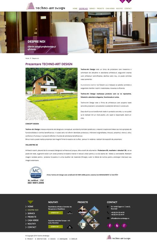 pagina web despre noi, web design