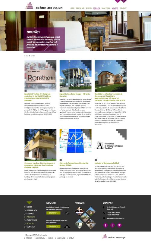 pagina web, listare noutati, web design