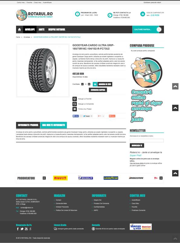 pagina produs rotarul, magazin online, web design